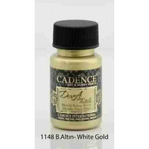 Cadence Dora Textile Metallic Paint 50ml White Gold 1148