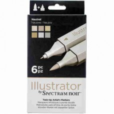Spectrum Noir Illustrator Markers 6/Pkg Neutrals ILLNEU