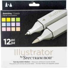 Spectrum Noir Illustrator Markers 12/Pkg Sketching ILL12SKE