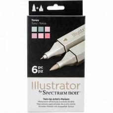 Spectrum Noir Illustrator Markers 6/Pkg Tones ILLTON