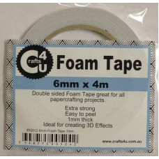 Crafts4U 6mm x 4m Foam Tape 1mm Thick 30012