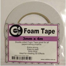Crafts4U 3mm x 4m Foam Tape 2mm Thick 30013