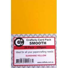 Crafts4U A5 Card 20Pk Smooth Sunshine Yellow 40001