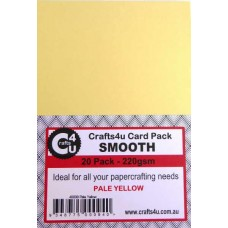 Crafts4U A5 Card 20Pk Smooth Pale Yellow 40009