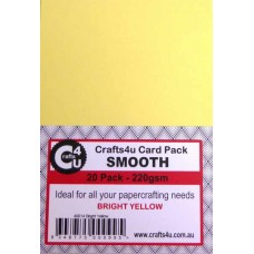 Crafts4U A5 Card 20Pk Smooth Bright Yellow 40014
