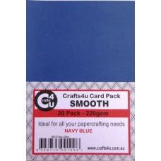 Crafts4U A5 Card 20Pk Smooth Navy Blue 40015