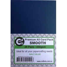 Crafts4U A5 Card 20Pk Premium Smooth Navy Blue 40019