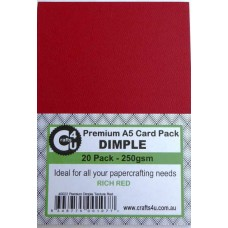 Crafts4U A5 Card 20Pk Premium Dimple Texture Red 40022
