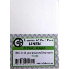 Crafts4U A5 Card 20Pk Linen White 40026