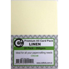 Crafts4U A5 Card 20Pk Linen Cream 40027