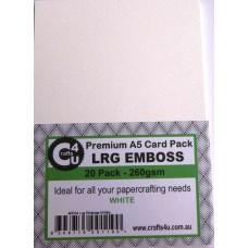 Crafts4U A5 Card 20Pk Large Emboss White 40034