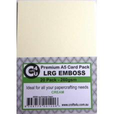 Crafts4U A5 Card 20Pk Large Emboss Cream 40035