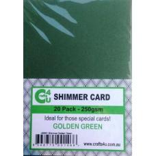 Crafts4U A5 Card 20Pk Shimmer Golden Green 40061