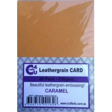 Crafts4U A5 Card 20Pk Leathergrain Texture Caramel 40077