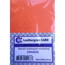 Crafts4U A5 Card 20Pk Leathergrain Texture Orange 40078