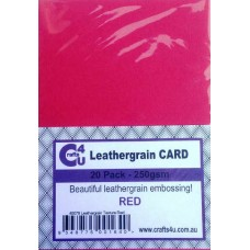 Crafts4U A5 Card 20Pk Leathergrain Texture Red 40079