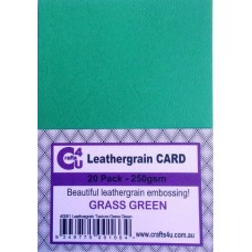 Crafts4U A5 Card 20Pk Leathergrain Texture Grass Green 40081
