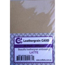 Crafts4U A5 Card 20Pk Leathergrain Texture Latte 40082