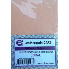 Crafts4U A5 Card 20Pk Leathergrain Texture Coral 40083