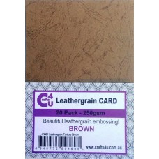 Crafts4U A5 Card 20Pk Leathergrain Texture Brown 40084