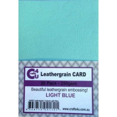 Crafts4U A5 Card 20Pk Leathergrain Texture Light Blue 40085