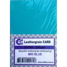 Crafts4U A5 Card 20Pk Leathergrain Texture Mid Blue 40086