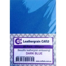 Crafts4U A5 Card 20Pk Leathergrain Texture Dark Blue 40087