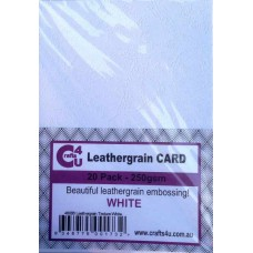 Crafts4U A5 Card 20Pk Leathergrain Texture White 40088