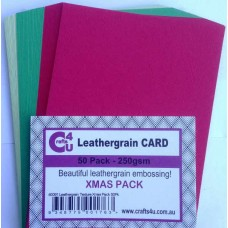 Crafts4U A5 Card 50Pk Leathergrain Texture Xmas Pack 40091