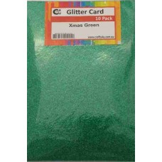 Crafts4U A5 Glitter Xmas Green 10 Pack 60020