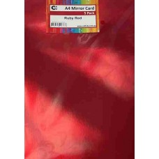 Crafts4U A4 Mirror Card 5Pk Glossy Ruby Red 10271