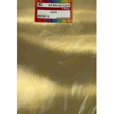 Crafts4U A4 Mirror Card 5Pk Glossy Polished Gold 10272