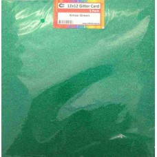 Crafts4U 12 x 12 Glitter Xmas Green 5 Pack 60002