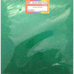 Crafts4U 12 x 12 Glitter Xmas Green 5 Pack 60002