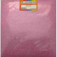 Crafts4U 12 x 12 Glitter Soft Pink 5 Pack 60003