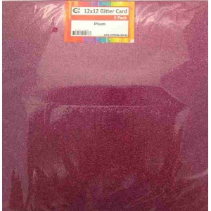 Crafts4U 12 x 12 Glitter Plum 5 Pack 60005