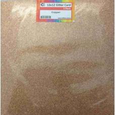 Crafts4U 12 x 12 Glitter Copper 5 Pack 60009