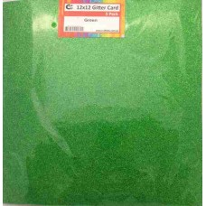 Crafts4U 12 x 12 Glitter Green 5 Pack 60010