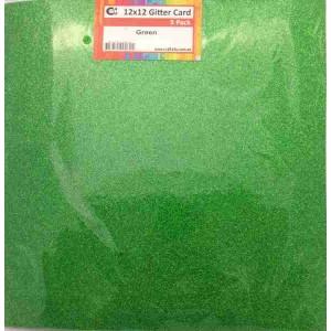 Crafts4U 12 x 12 Glitter Green 5 Pack 60010