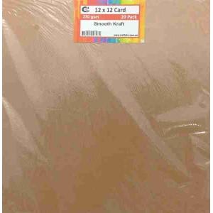Crafts4U 12 x 12 Smooth Kraft 20 Pack 250gsm 60051