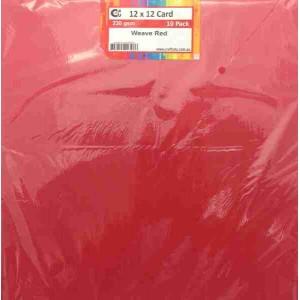 Crafts4U 12 x 12 Weave Red 10 Pack 230gsm 60056