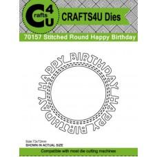 Crafts4U Die Stitched Round Happy Birthday 70157