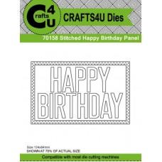 Crafts4U Die Stitched Happy Birthday Panel 70158