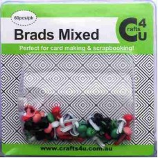 Crafts4U Brads Mixed Colours 60 Pack 10031