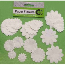 Crafts4U White Paper Flowers 32 Pack 10093
