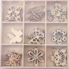 Crafts4U Wooden Embellishments 45 Pieces Butterfly 10102