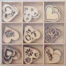 Crafts4U Wooden Embellishments 45 Pieces Love 10103