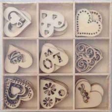 Crafts4U Wooden Embellishments 45 Pieces Love 10103