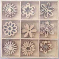 Crafts4U Wooden Embellishments 45 Pieces Floral 10104