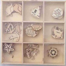 Crafts4U Wooden Embellishments 45 Pieces Sealife 10105